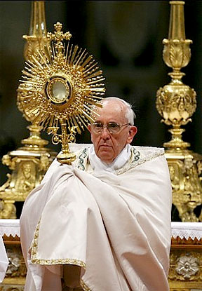 Pope Francis leads Eucharistic Adoration