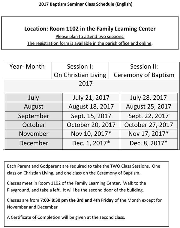 2017 Baptism Seminar Class Schedule (English)