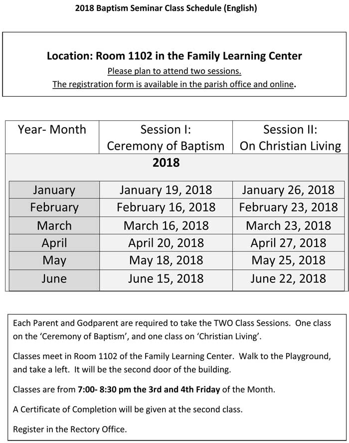 2018 Baptism Seminar Class Schedule (English)