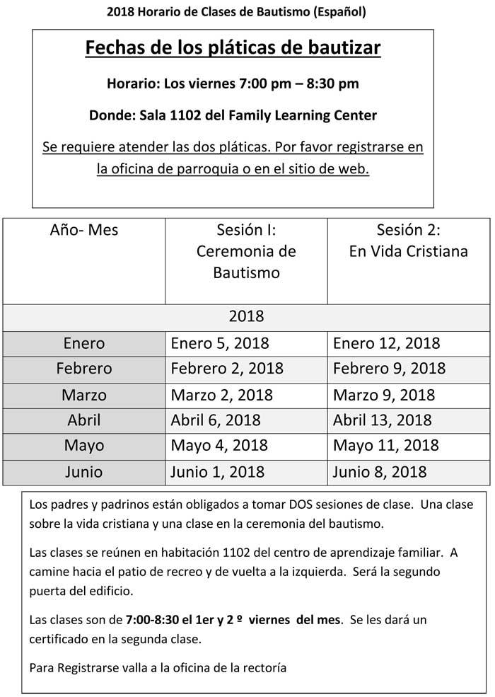 2018 Horario de Clases de Bautismo (Español)