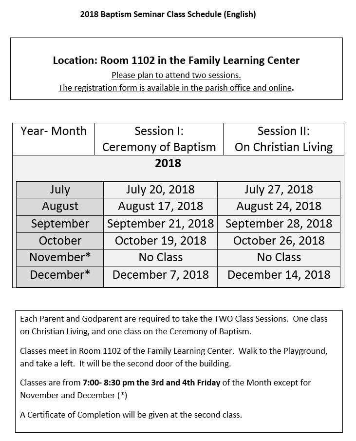 2018 Baptism Seminar Class Schedule (English)