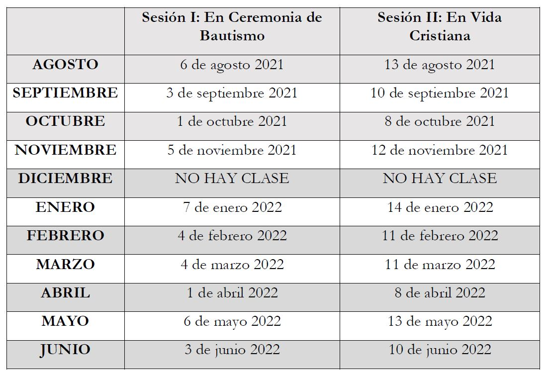 List of dates and times for the Baptism seminar classes in Spanish
